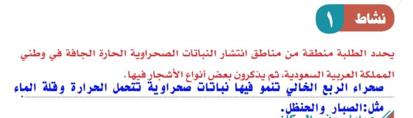 يحدد الطالب منطقة من مناطق انتشار النباتات الصحراوية الحارة الجافة في وطني المملكة العربية السعودية - الموقع المثالي